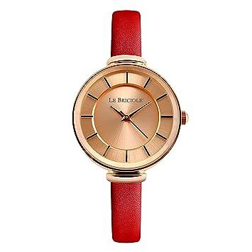 "Reloj mujer le Briciole auténtica piel rojo red water resistant Luxury Watch Woman """