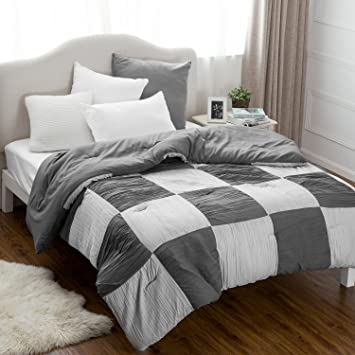 Amazon.com: Twin Printed Comforter Duvet Insert-Grey Down ...