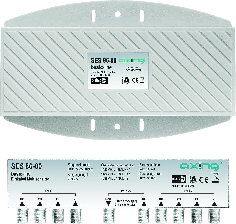 Axing Ses 86 00 Einkabel Multischalter Für 2 Satelliten Quattro Lnbs Unicable Für 6 Teilnehmer