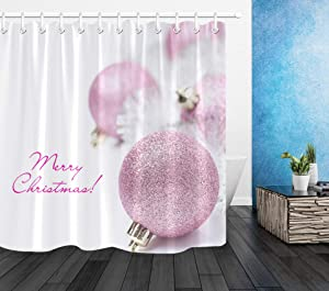 LB Merry Christmas Shower Curtains for Bathroom Pink Christmas Balls Shower Curtain Xmas Decorations with Snowflakes Bathroom Curtain 72x72 Inch Waterproof Polyester Fabric with 12 Hooks