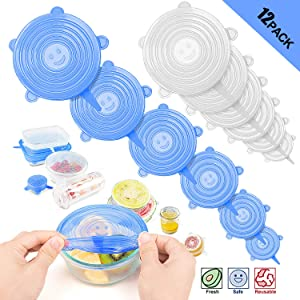 Tikola Silicone Stretch Lids Reusable Food Covers for Bowl Cup, Safe in Microwave Dishwasher Refrigerator, Durable and Expandable, Fit Various Sizes to Keep Food Fresh Eco-friendly 12pcs