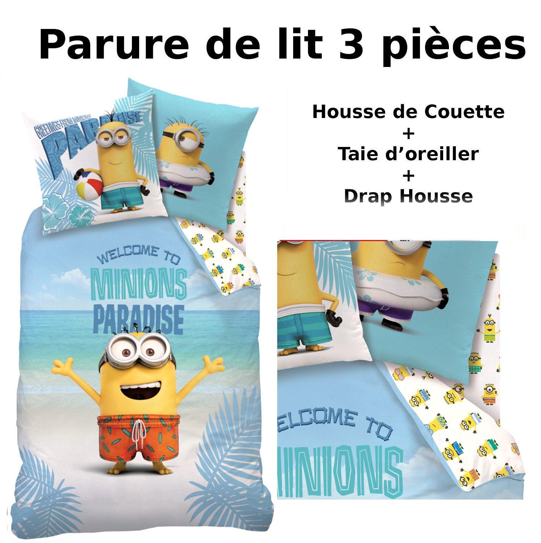 MINIONS - Parure de lit (3pcs) 100% Coton - Housse de Couette (140x200) + Taie d\'Oreiller (63x63) + Drap housse (90x190) - Imprimé Paradise CTI