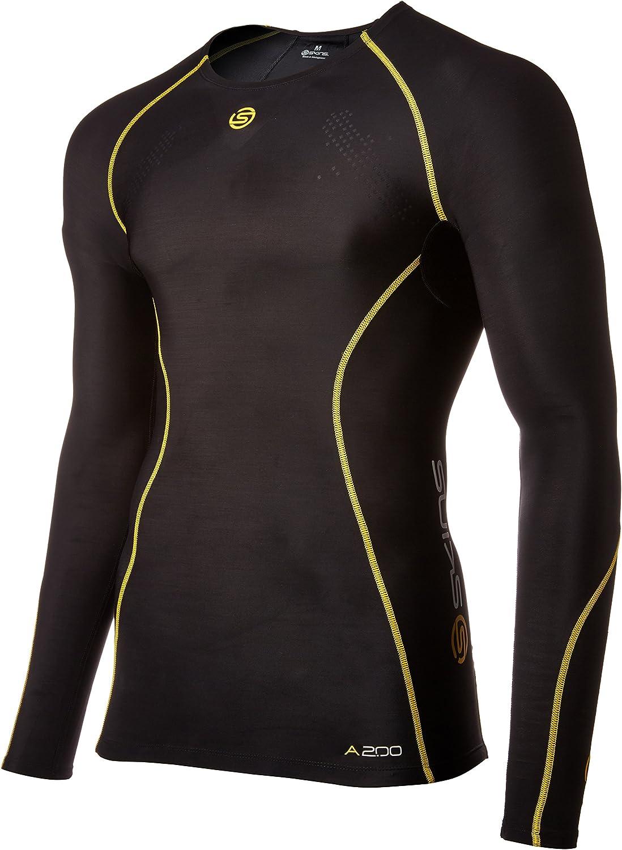 Skins da Uomo A200 A200 Colore: Nero//Giallo Uomo Maglia a Maniche Lunghe Taglia L