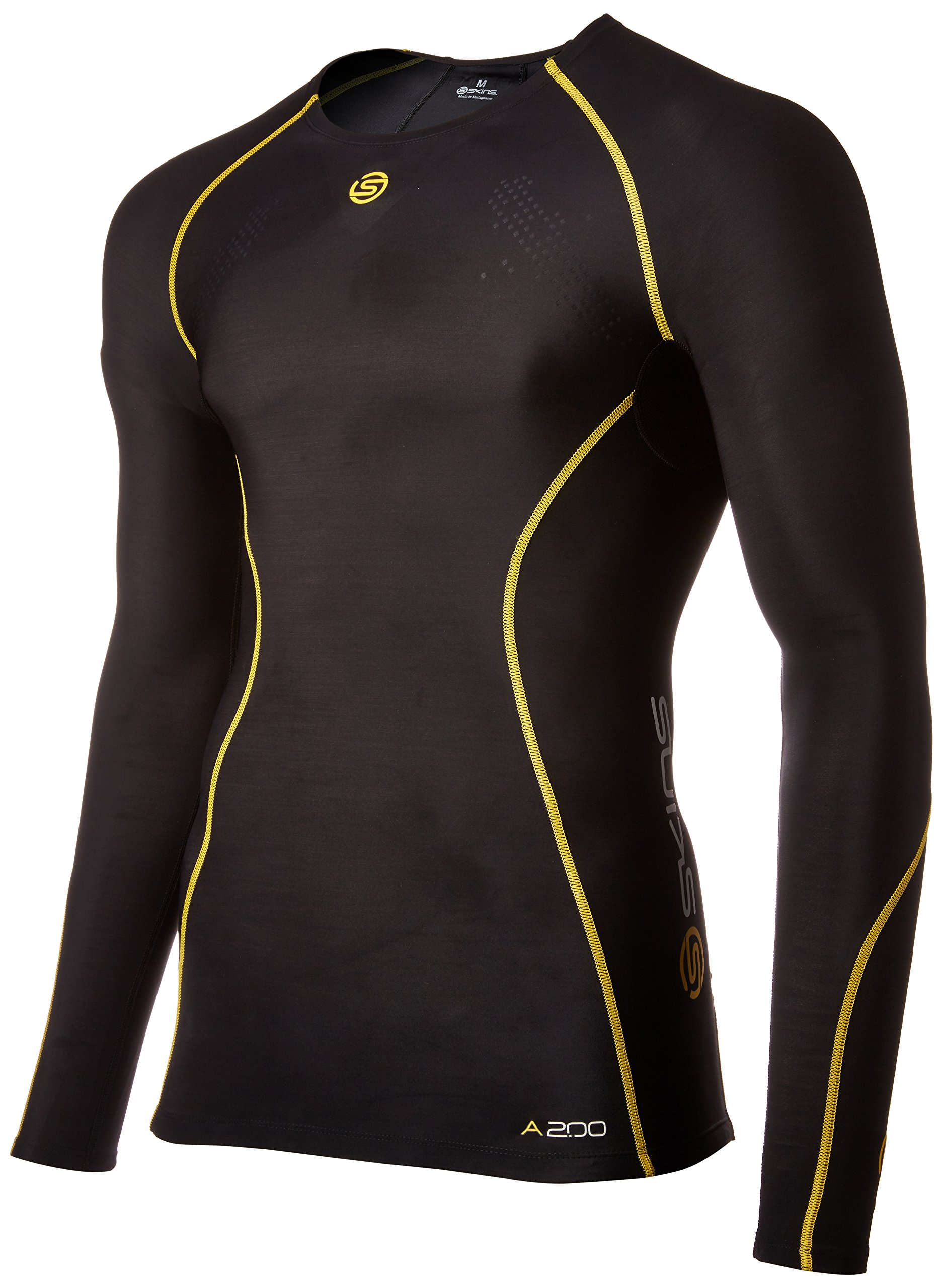 Skins A200 Men's Long Sleeve Compression Top, XX-Large Black/Yellow