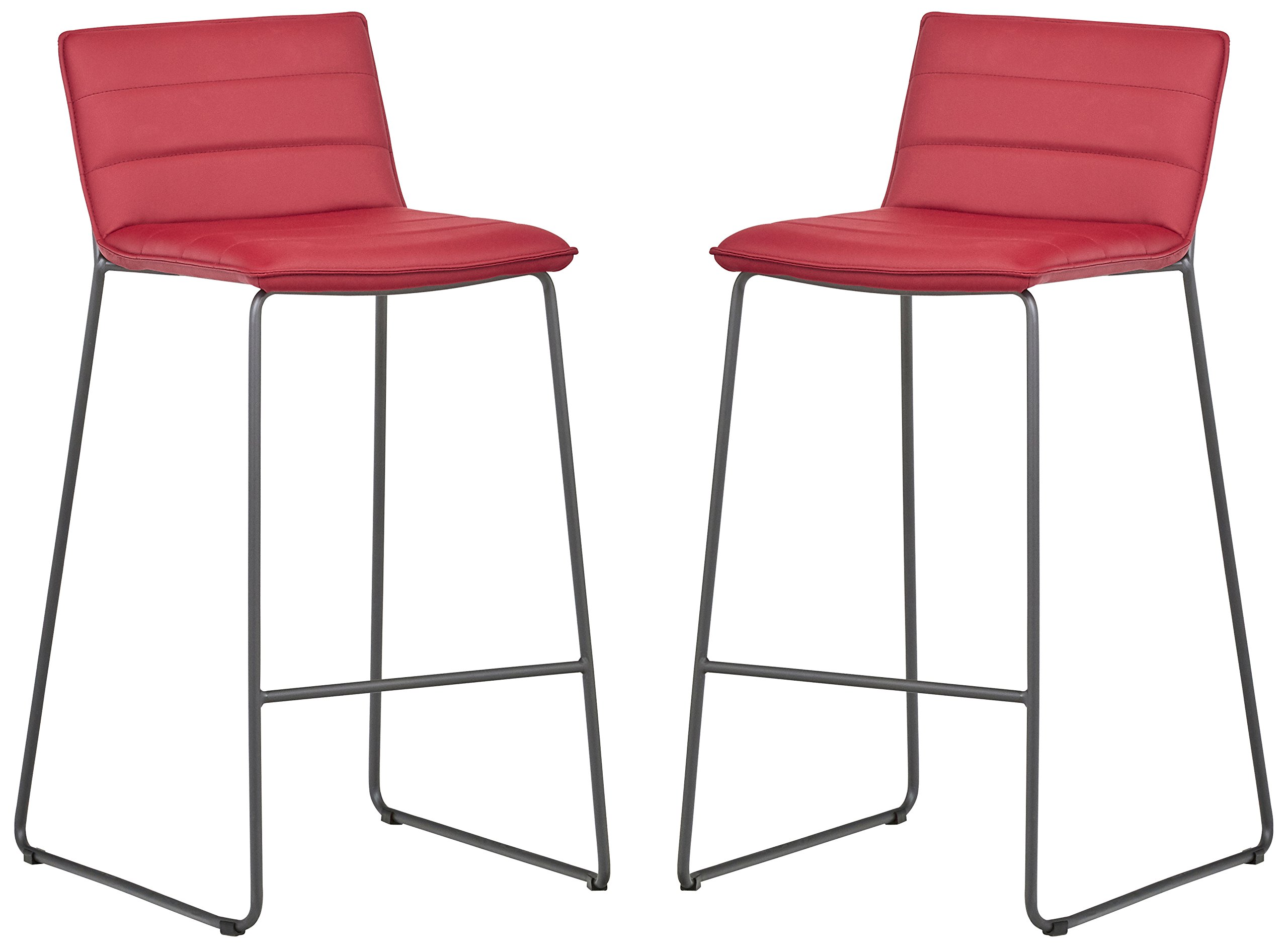 Rivet Julian Minimalist Modern Tufted Kitchen Bar Height Stools, Set of 2, 37.8 Inch Height, Synthetic Leather, Red by Rivet