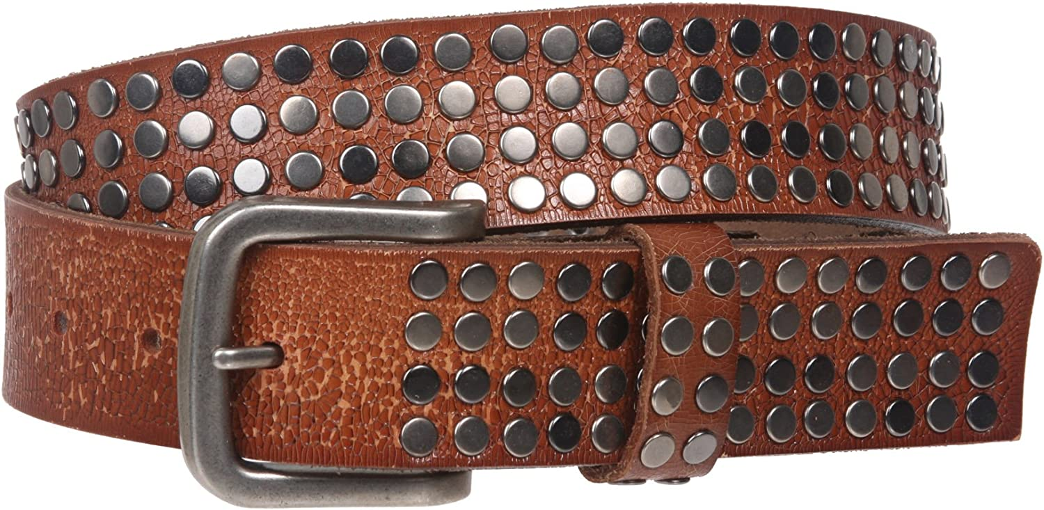 1 1//2 Snap on Antique Silver Circle Metal Studded Distressed Leather Belt