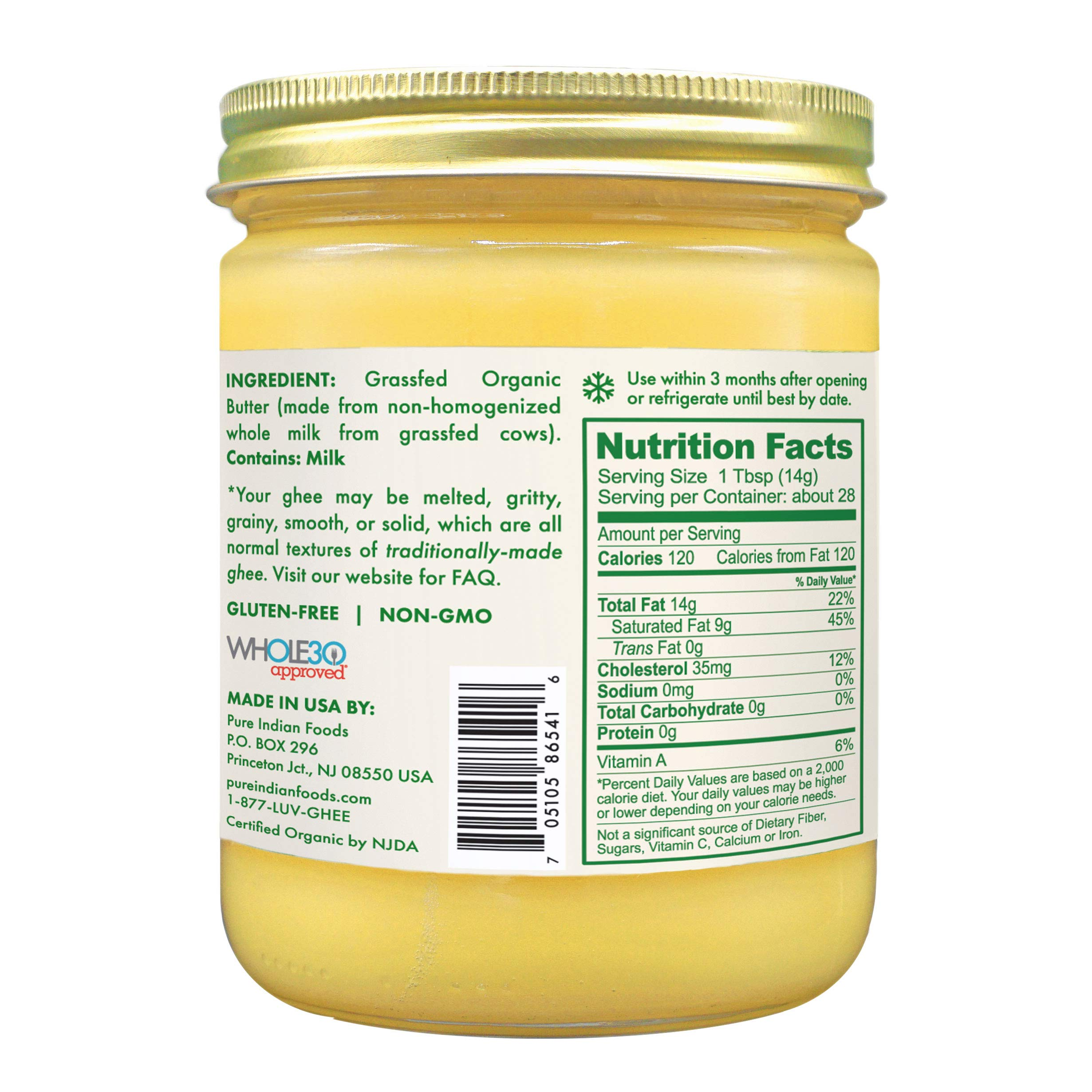 Grassfed Organic Ghee 14 oz (One Pint or 16 fl oz) by Pure Indian Foods (Image #4)