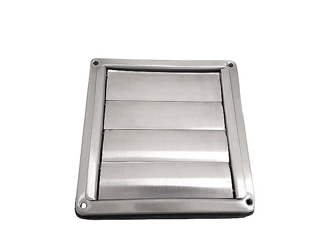 Acero inoxidable protección contra la intemperie rejilla rectangular con láminas móviles Tubo Conector DN 100 125 150 200 mm sobrepresión rejilla de ...