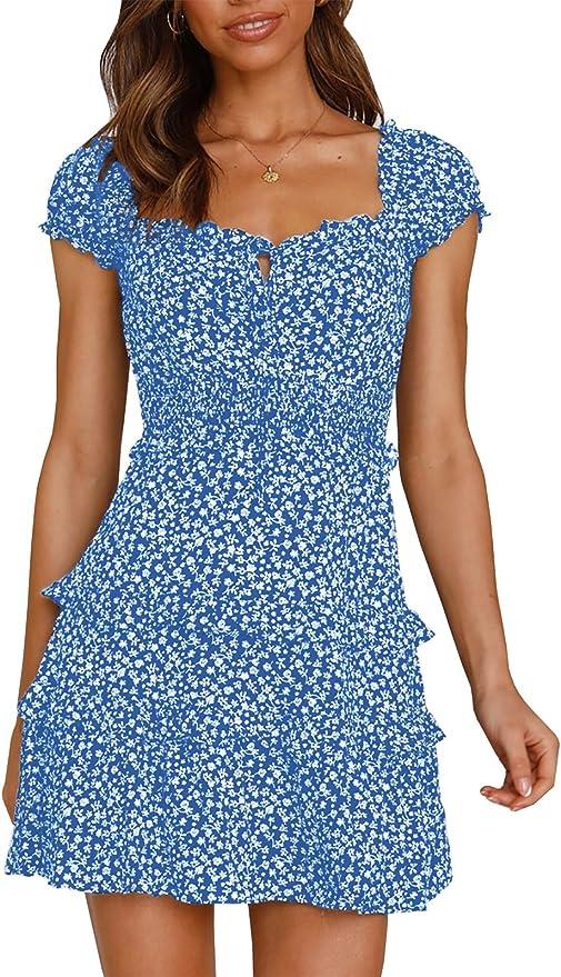 Ybenlover Vestido de verano para mujer, de cintura alta, minivestido, vintage, para playa, tiempo libre