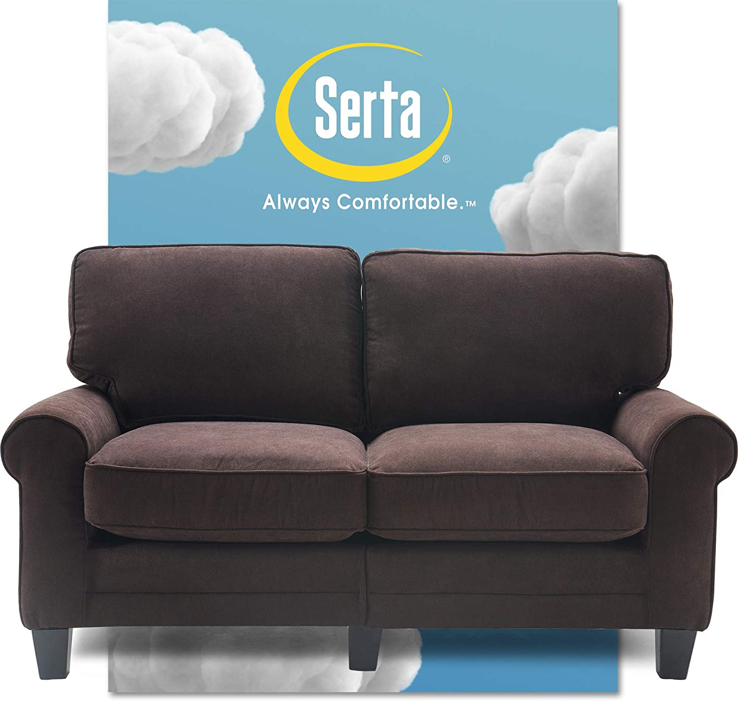 "Serta Copenhagen Sofa Couch for Two People, Pillowed Back Cushions and Rounded Arms, Durable Modern Upholstered Fabric, 61"" Loveseat, Dark Brown"