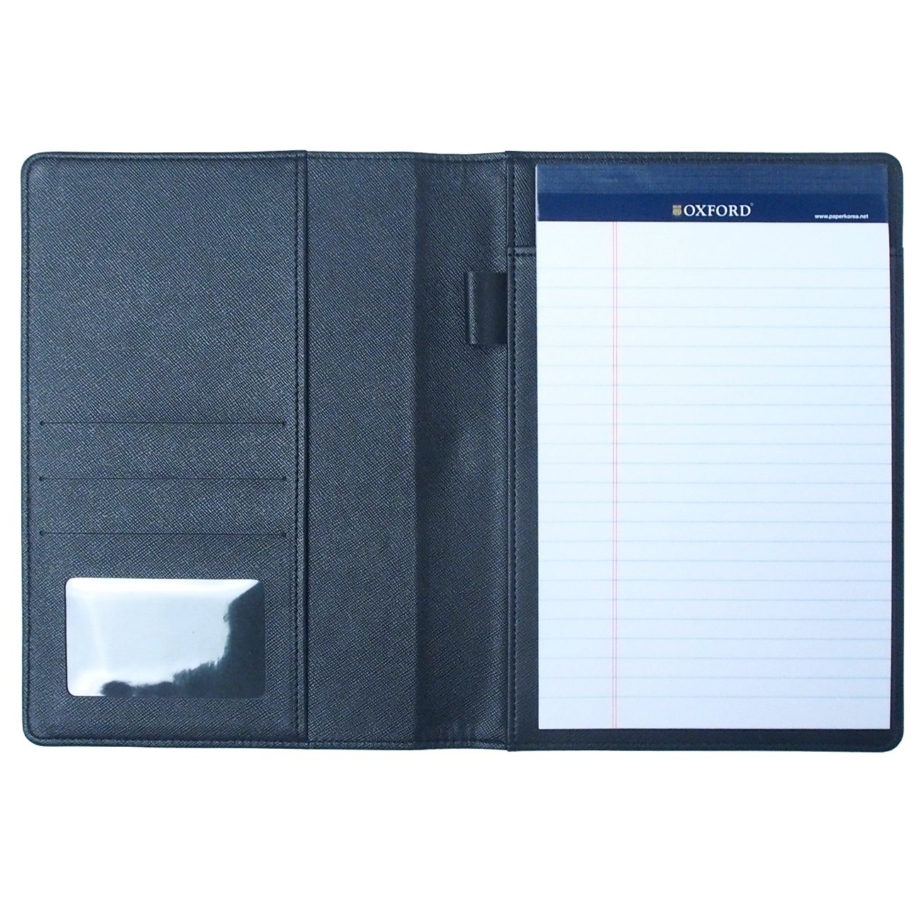 AHZOA Colorful 4 Pockets A5 Size Memo Padfolio S1, Including 5 X 8 inch Legal Writing Pad, Synthetic Leather Handmade About 6.3 X 8.7 inch Folder Clipboard Holder (Black)