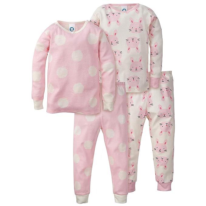 618685c2c79a Amazon.com  Gerber Baby Girls Organic 2 Pack 2-Piece Cotton Pjs ...