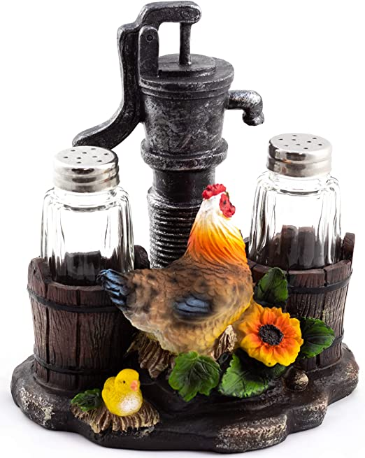 Hen and Chick Pump up the Spice Salt and Pepper Shakers Set Kitchen Decoration