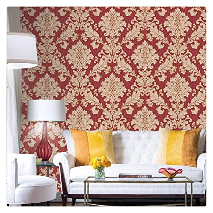 HaokHome 561406 Vintage Luxury Damask Wallpaper Crimson Red/Beige/Gold  Glitter Wall Murals Bedroom
