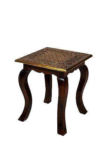 Wunderbar Marokkanischer Beistelltisch Couchtisch Aus Holz Massiv Anum 40 Cm    Vintage Tisch Aus Massivholz Mit Messing