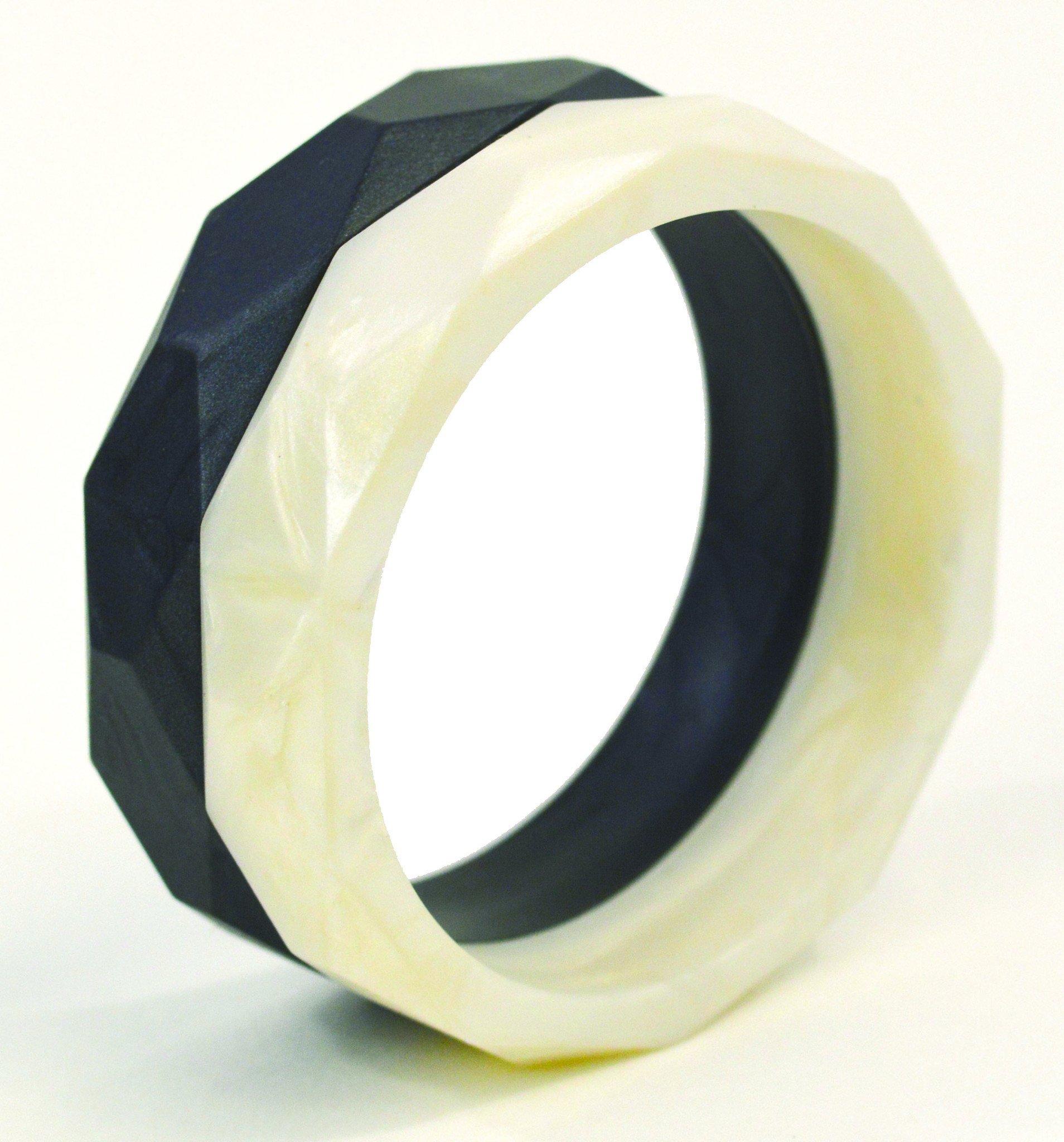 Gumeez 'Grace' Teething Bangle Set (White Pearl & Black Pearl)