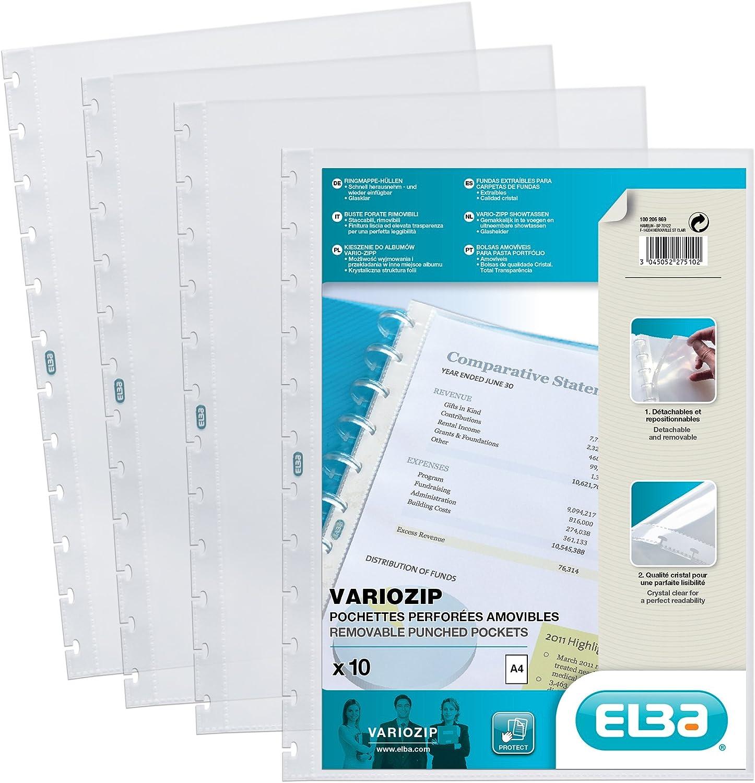 ELBA 100206869 Prospekth/üllen 10er pack mit vario-zipp-Prinzip manageMe Ersatzh/üllen oben offen glasklar /& ELBA 100421115 Kunststoff-Ringmappe polyvision DIN