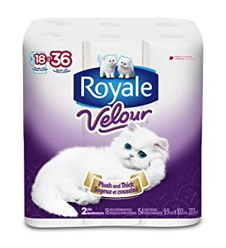 Royale Velour Bathroom Tissue 18 Double Rolls