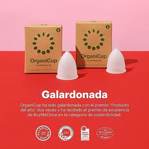 Copa menstrual OrganiCup - Talla B/grande - Ganadora del los AllergyAwards 2019 - Aprobada por la FDA - Silicona suave, flexibe y reutilizable de ...