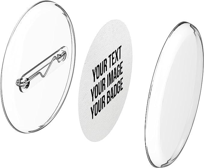 Imagen deChapas plásticas con alfiler incluido (a presión) hágalo usted mismo, sin necesidad de máquina (Ø 30 mm, 25 piezas) - Conjunto de chapas con alfiler y papel- pre cortado A4