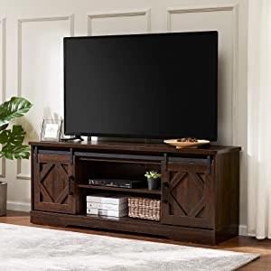 """WAMPAT Farmhouse TV Stand Sliding Barn Door Entertainment Center for TV up to 65"""",Wood Console Table Storage Cabinet in Rustic Brown Wash, 59 Inch"""
