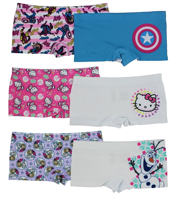 Disney Girls Boyshort Assorted Underwear Pack of 6 - Set 1 - L, Frozen, Cap America & Hello Kitty