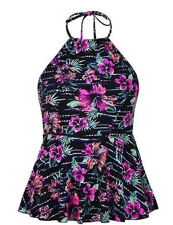9c8e588349 Hilor Women's High Neck Swimwear Halter Swimsuit Ruffle Hemline Tankinis  Tops Black&Red ...