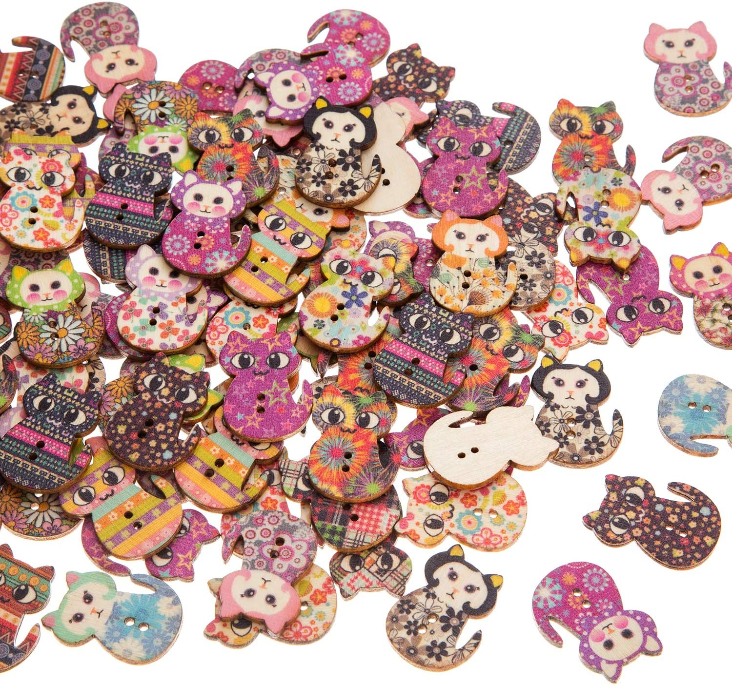 Vintage Buttons Mixed Lot 100 Pcs//lot Mixed Pattern Vintage Wood Buttons For DIY