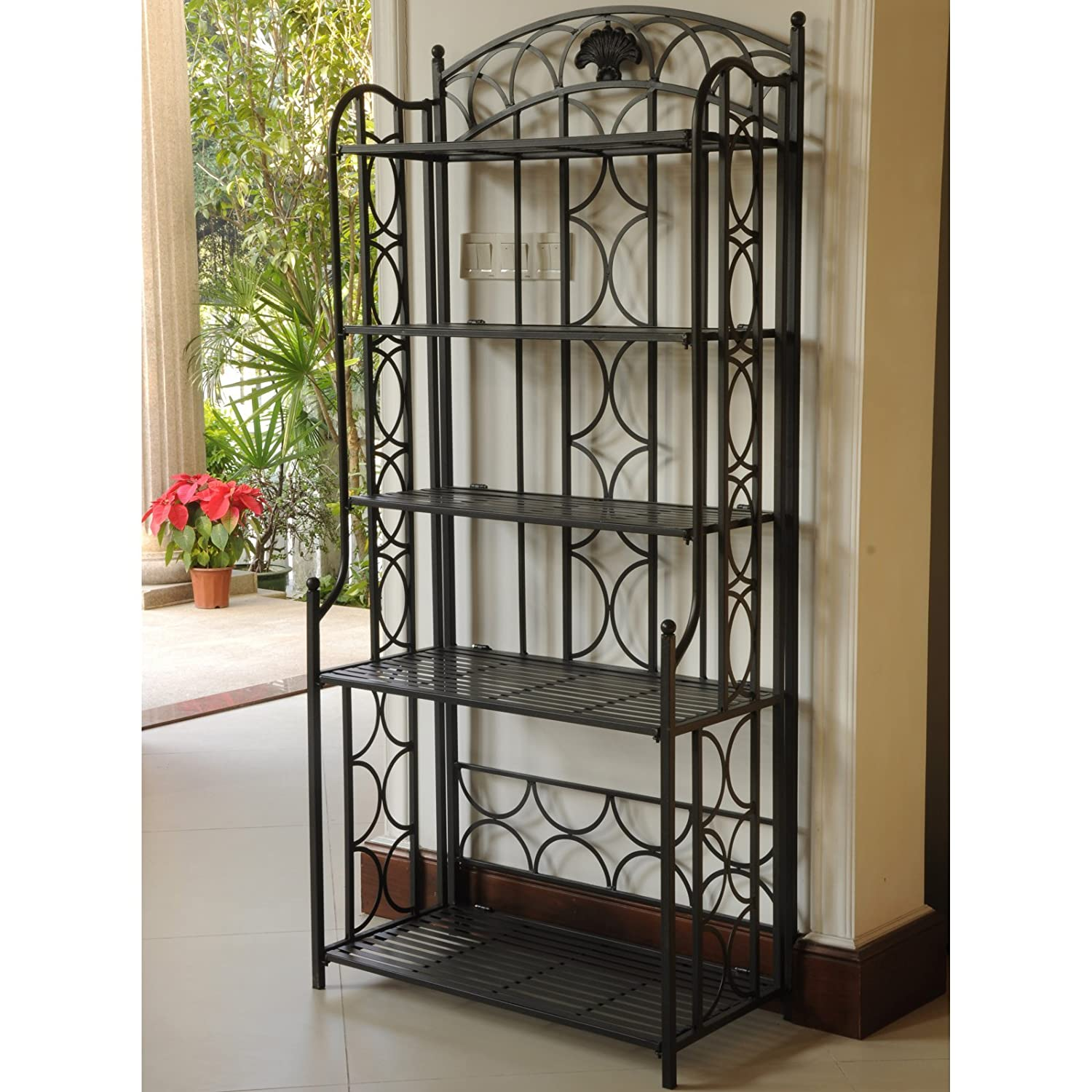 international caravan mandalay iron 5 tier bakers rack
