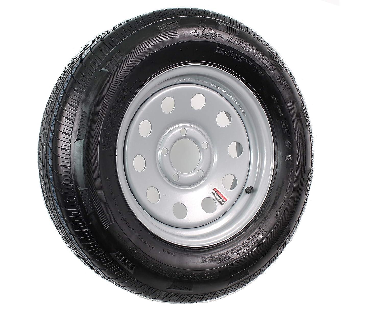 Rainier ST ST205//75R15 LRC 6 PR Radial Trailer Tire on 15 5 Lug Silver Mod Trailer Wheel