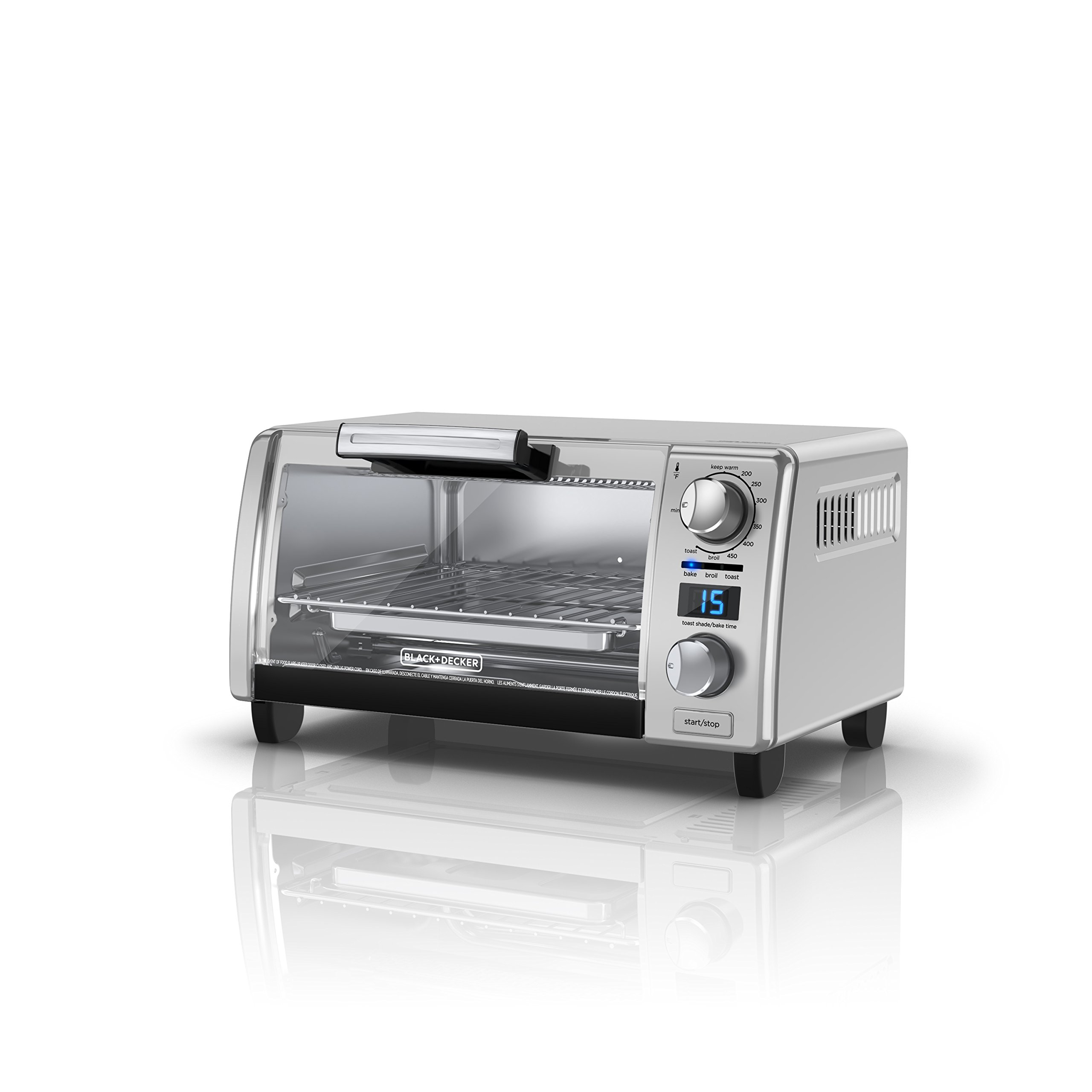 BLACK+DECKER 4-Slice Natural Convection Digital Toaster Oven, Stainless Steel, TOD1770G