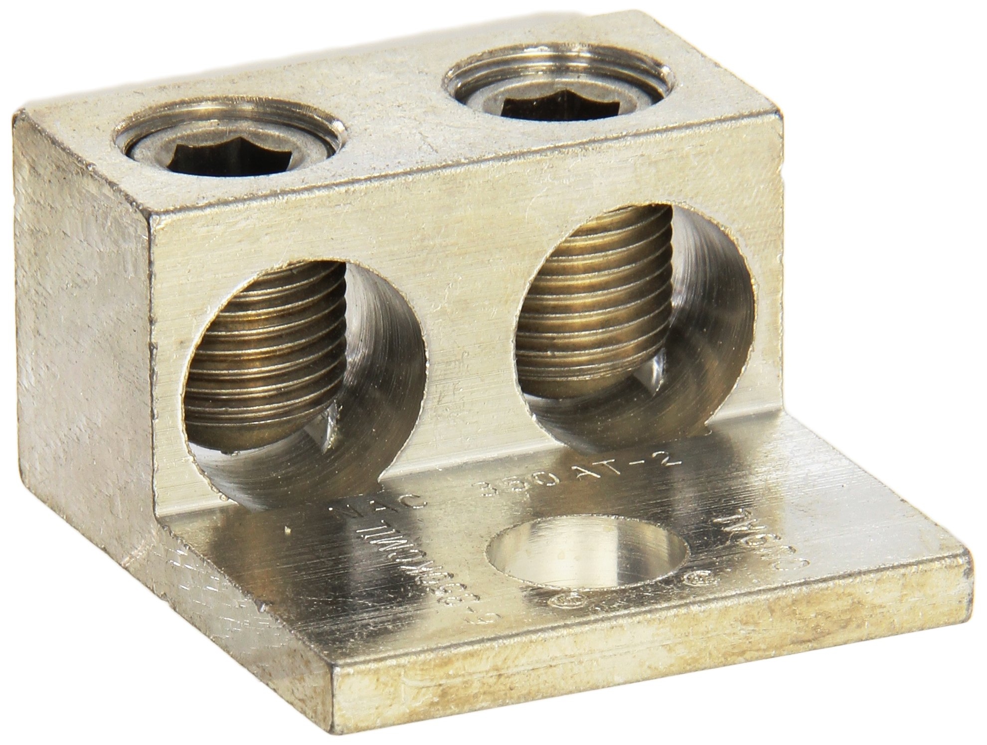 Morris Products 90818 Mechanical Lug, Two Conductors, One Hole Mount, Aluminum, 350 AWG, 350mcm - 6SOL. Wire Range