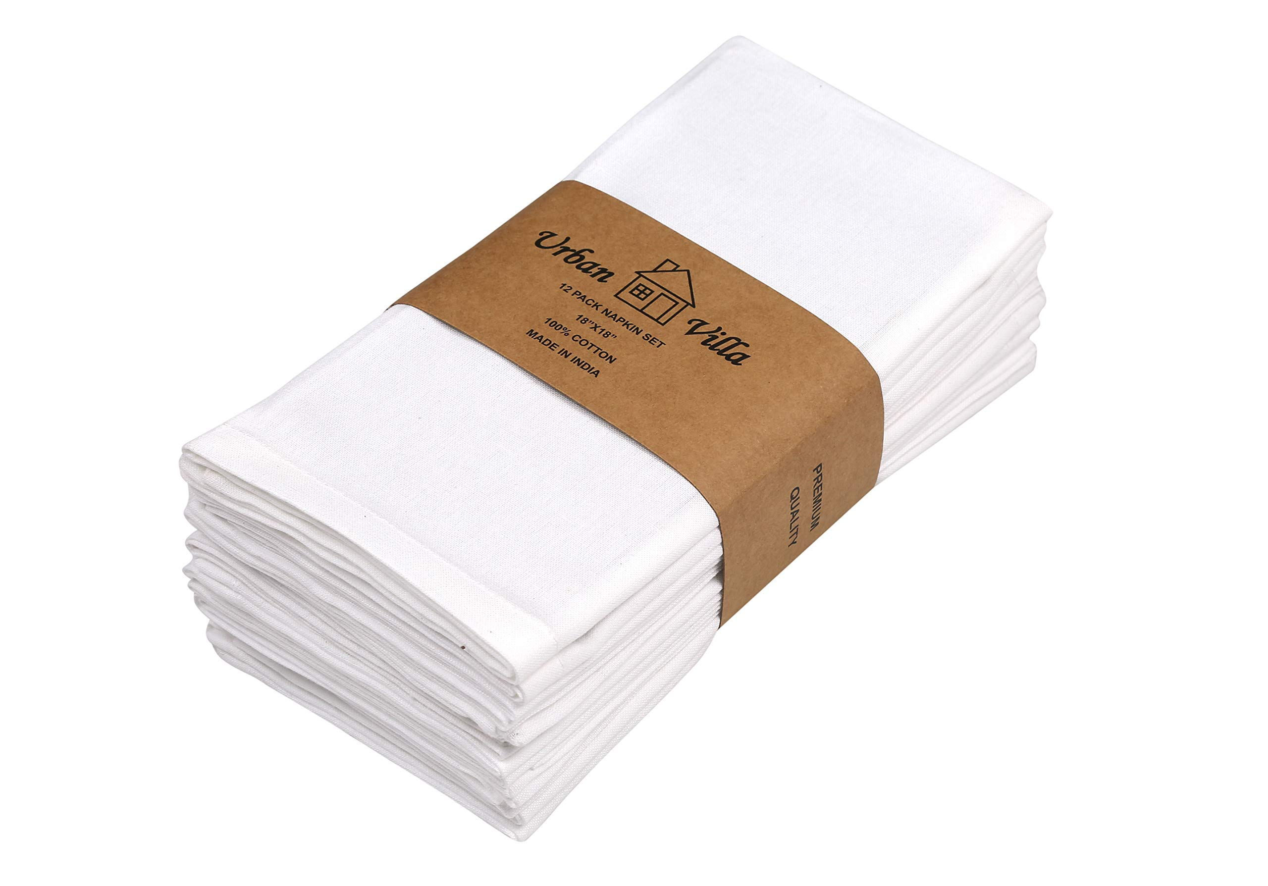 Urban Villa White Solid Flat Weave Ultra Soft, Premium Quality,Dinner Napkins, 100% Cotton, Set of 12, Size 18X18 Inch, White Cloth Napkins with Mitered Corners, Durable Hotel Quality, Pre-washed by Urban Villa