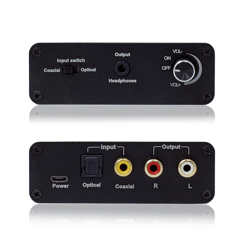 KanaaN Convertidor Sonido de Digital a Analógico con amplificador para auriculares | SPDIF/Toslink y clavija 3,5 mm | Amplificador de auriculares/cascos: ...