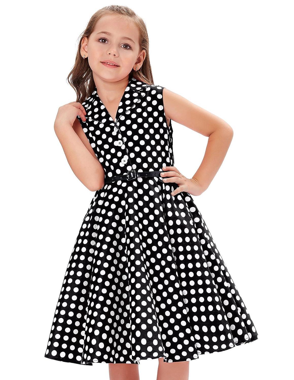 Vintage Style Children's Clothing: Girls, Boys, Baby, Toddler GRACE KARIN Girls Retro Sleeveless Lapel Collar Polka Dots Dresses $20.69 AT vintagedancer.com