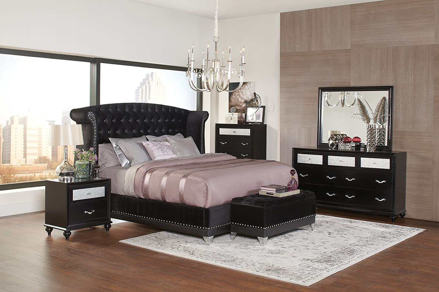 Home Furnishings Platform Bed, Black