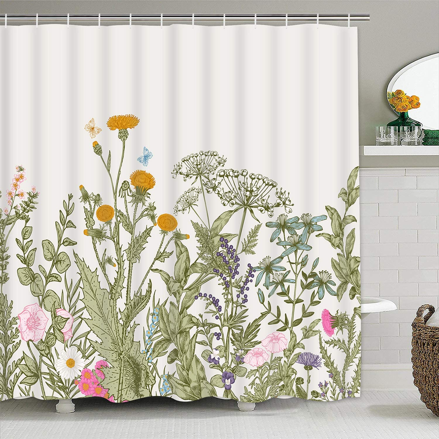Colorful Floral Plants Shower Curtains with 12 Hooks, Flower Vintage Herbs Shower Curtain Nature Scenery Waterproof Shower Curtain for Bathroom