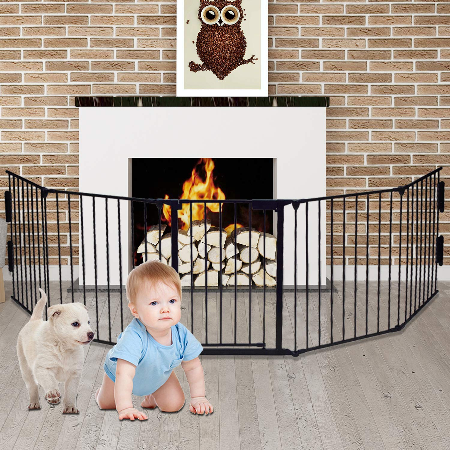 3-in-1Metal Fence Fireplace Gate Baby Safety Gate Pet Gate for Provide a Safe Entertainment Area 26''×30''×0.6''(5pcs,Black)
