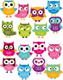 Cute Owls Repositionable Removable Wall Decal Stickers 16 Piece Set