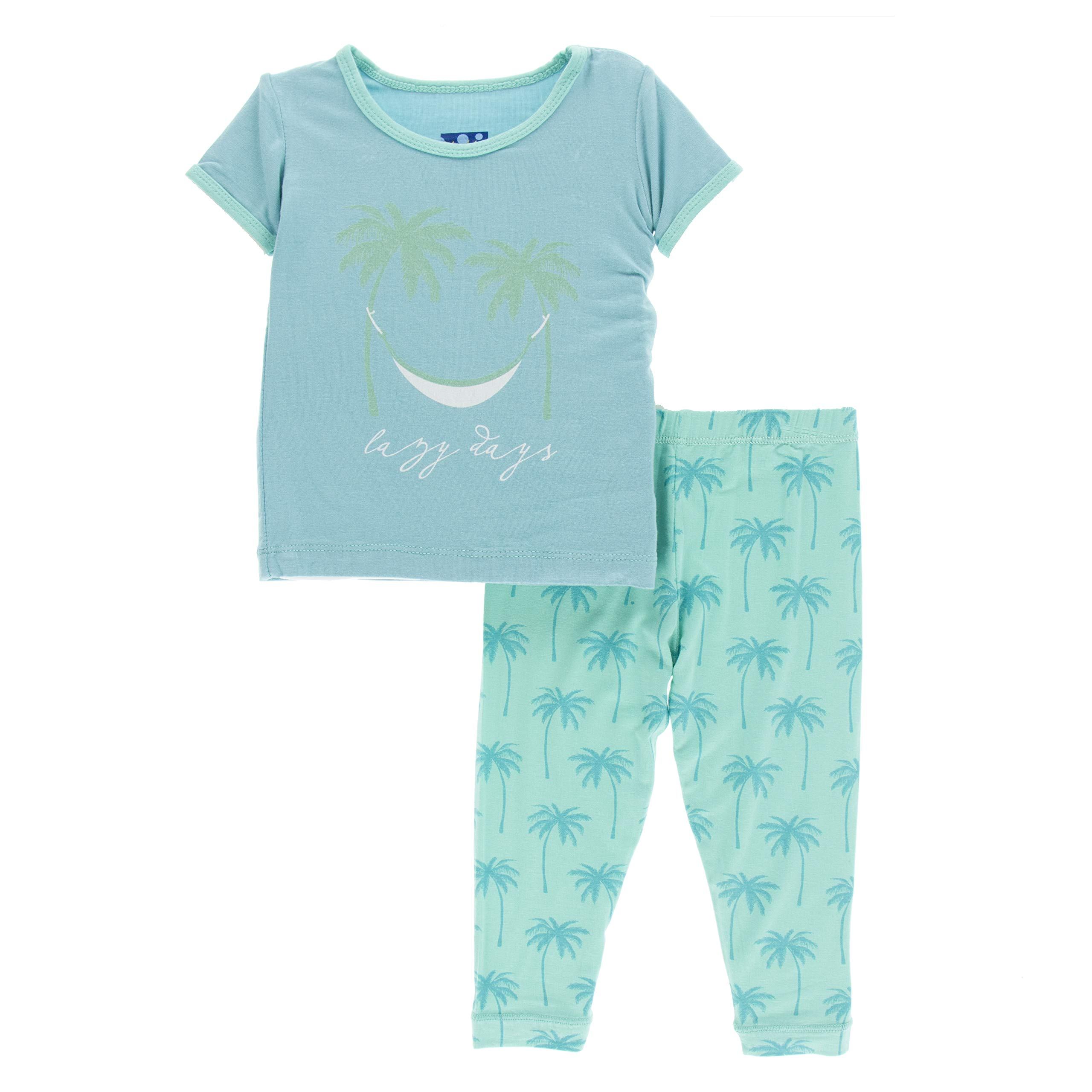 Kickee Pants Print Short Sleeve Pajama Set (Glass Palm Trees - 8 Years)