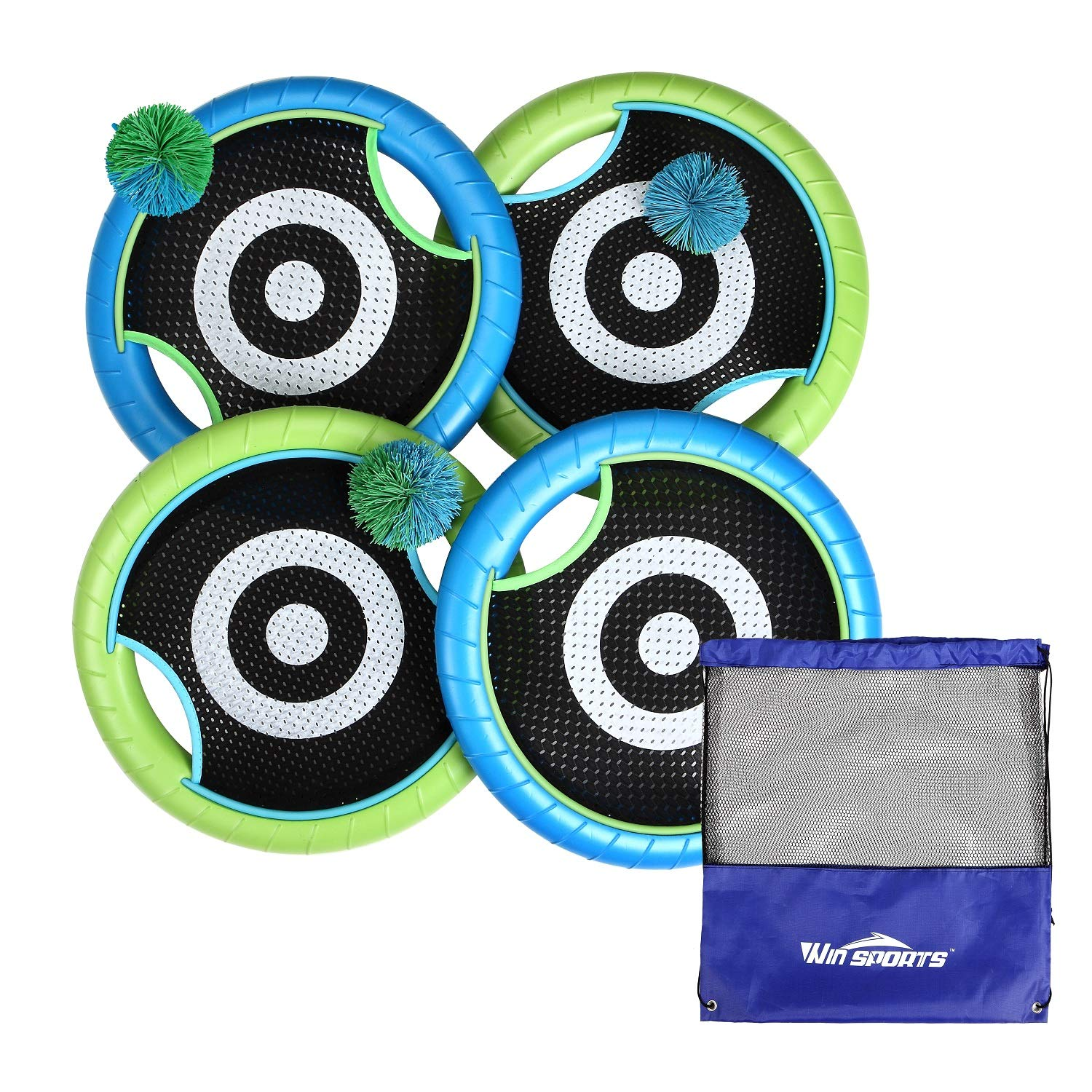 Win SPORTS Outdoor Trampoline Paddle Ball Set for 4 Players - Includes 4 Rackets, 3 Rubber String Balls,1 Storage Bag - Outdoor Family Camping Game for Kids, Adults, and Couples by Win SPORTS