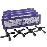 Paquet avec 4 brosses latérale et 4 filtres haute performance pour Neato Botvac de Hannets®