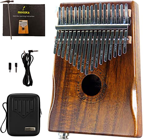 Moozica 17-Key EQ Kalimba, Koa Tone Wood Electric Finger Piano Pulgar Pickup incorporado con interfaz de audio de 6.35 mm y bolsa Kalimba profesional