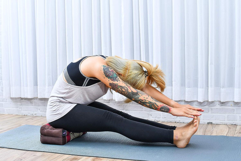 Leewadee Bloque De Yoga Almohada Pilates Ladrillo Yoga Cojín De Meditación Orgánico Naturalmente Ecológico, 35x18x12 cm, Capok