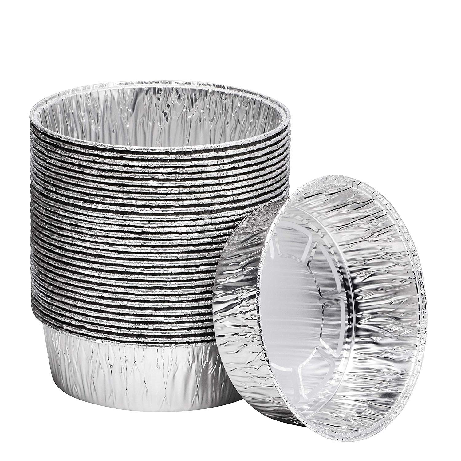 8 Inch Disposable Round Aluminum Pans - Cake Pan and Extra Deep Aluminum Foil Pans for Baking and Storage (10 Count)