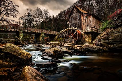 Utah Nature Photography 24x36 Inch Unframed High Definition Nature Art Poster Old Grist Mill Water Wheel At The Tail End Autumn In Babcock State Park West Virginia Everything Else