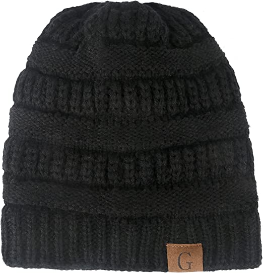 Mens Cable Knit Slouch Beanie Winter Hat ~ Grey or Burgundy