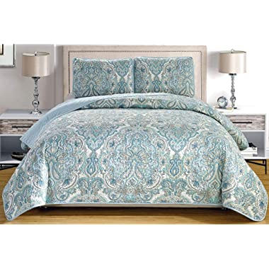 3-Piece Fine printed Oversize (115  X 95 ) Quilt Set Reversible Bedspread Coverlet (California) CAL KING SIZE Bed Cover (Pale Blue, Grey, Paisley)