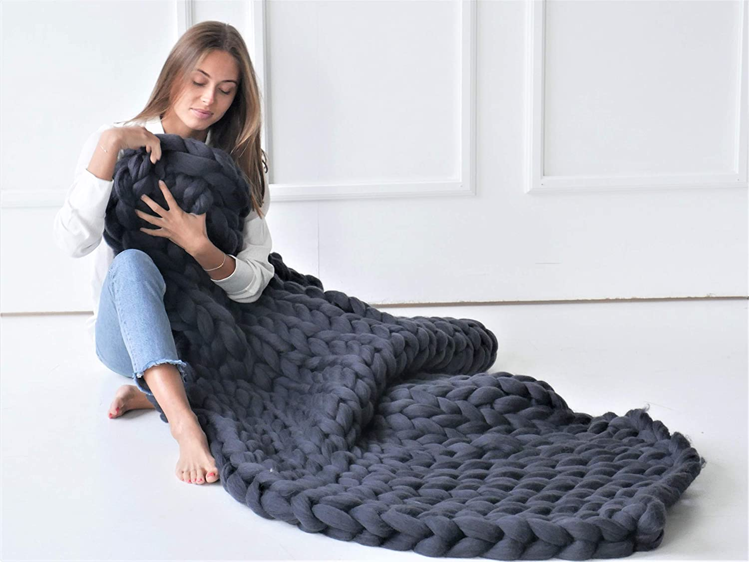 Image of Chunky knit blanket Merino wool Throw blanket