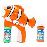Fun Central R382 LED Light Up Fish Bubble Gun, Fish Bubble Blaster Shooter, Fish Bubble Gun with 2 Bottles of Solution - Fish